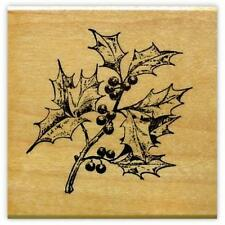 Holly Branch Mounted rubber stamp, Christmas, winter holiday #19