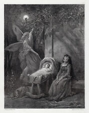 """Mysterious GUSTAVE DORE 1800s Antique Engraving """"Queen Mab"""" Framed Signed COA"""