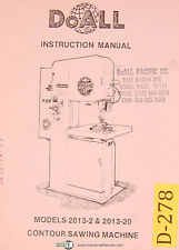 Doall 2013-2 & 2013-20, Vertical Contour Saw, Instructions Manual 1979