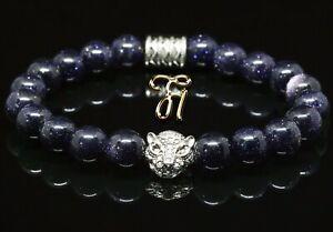 Blaufluss blau - silberfarbener Tigerkopf - Armband Bracelet Perlenarmband 8mm