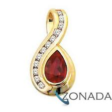 Ruby And 12 Diamond 9ct 9k Solid Yellow Gold Pendant 64030/CR