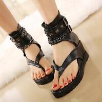 Gladiator Womens Chain Buckle Punk Sandals Conceal Wedge Heels Rivet Roman Shoes