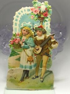 Victorian Fold Out Valentine's, Boy Serenading Girl, Doves, Roses, Love, Germany