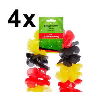 4x LED Blütenkette Blumenkette Hawaii Kette Deutschland Fußball EM Fan Artikel