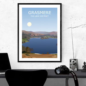 Grasmere Art Print, The Lake District National Park Landscape, Cumbria, Hiking
