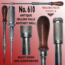 MILLERS FALLS  #610 VINTAGE RATCHET SCREWDRIVER WITH SPRING LOADED RETURN & BIT