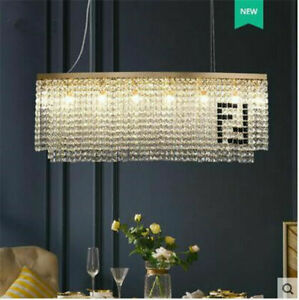 luxury dining room chandelier curved LED crystal long light gold/chrome lamp