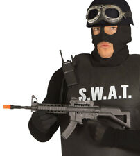 Black Machine Gun Toy War Submachine Gun 56cm With Sound SWAT Police Fancy Dress