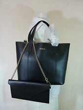 NWT Furla Onyx Black Pebbled Leather Small Elle Tote Bag $248