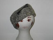 Fabulous CHIC Vtg 1940-50s Silver Gray Curly Persian Lamb Tilt Top Pill Box Hat