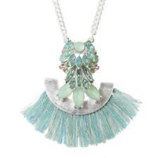 plaqué argent collier - Bleu Turquoise frange cg0929