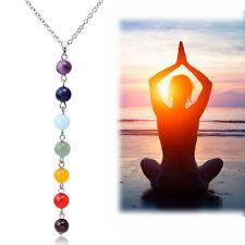 7 Chakra Beads Yoga Reiki Healing pendant necklace lapis, turquoise, amethyst