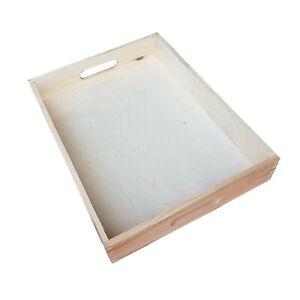Set 4 Wooden Serving Trays 40cmx30cmx 6.3cm and