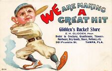 Tampa FL Glidden's Racket Store Baseball Player Rare Advertising Postcard