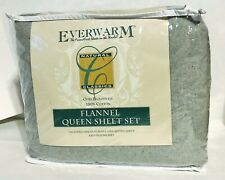 Everwarm Cotton Flannel Queen Size Sheet Set In Light Gray New in Packaging