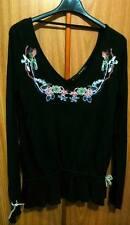 Maglia Silvian-Heach Nera Fashion Camicia Manica Lunga 100% Cotone Ricamo Tg. S
