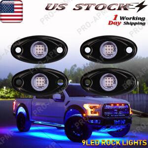 Blue LED Rock Lights For Jeep Off-Road Truck UTV ATV Boat Underbody 4 Pods Light
