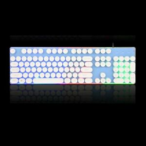 USB Keyboard Gaming Keycap Russian Retro Round Glowing Metal Panel Backlit Wired