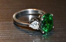 Beautiful Vintage Size 6 Heart Shape Diamond Emerald Ring 929 Silver KOREA