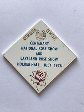caravan plastic plaque - cumbria centre. national rose show. holker hall 1976