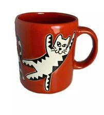 "Waechtersbach Spain Red w/ Black & White ""Quirky Cats"" 11oz. Coffee Mug Cup"