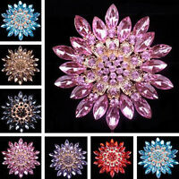 Fashion Rhinestone Crystal Flower Wedding Bridal Bouquet Brooch Pin Jewelry Gift