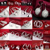 Women Fashion 925 Silver Earrings Drop Dangle Hoop Stud Earrings Wedding Jewelry
