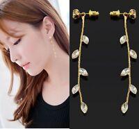 New Elegant Fashion Rhinestone Long Dangle Chain Earrings Stud Gold Plated Gift