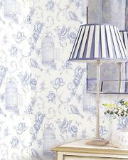Classic Bird Birdcage Floral Blue White Cottage Chic Modern Designer Wallpaper