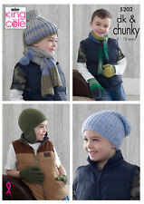 Boys DK & Chunky Knitting Pattern King Cole Hats Scarves Gloves Mittens 5202