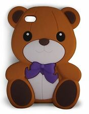 Brown super carino con fiocco Bear Morbido Silicone Custodia per Apple iPod Touch 4th Gen