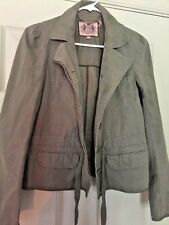 JUICY COUTURE BORN IN USA WOMENS DENIM OLIVE Green Bomber JACKET COAT SIZE S