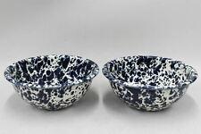 More details for 2x navy & white lightweight enamel marble design bowls 6