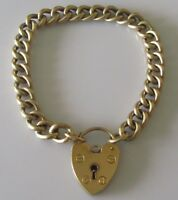 Vintage 9ct Yellow Gold Curb (11.9g) Bracelet & Padlock (6 1/2 inches)