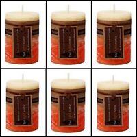 6x Scented Pillar Florida Orange Candle Candles Rustic Decor 5*8cm Fragrance