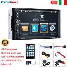 "7"" AUTORADIO AUTO STEREO MP5 LETTORE FM USB AUX SD BLUETOOTH 2 DIN GPS MAPPA+CAM"