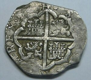 PHILIP III 4 REAL COB SEVILLA 1600s HIGH GRADE SPANISH SILVER COLONIAL ERA COB