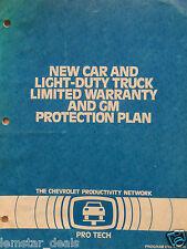 Pro Tech New Car and Light Duty Truck Warranty Chevrolet  Training  Manual 1988