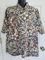 Tori Richard Size XL Grey Brown Tan S/S Button Front Tropical Shirt 100% Cotton