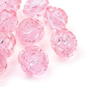 10x Transparent Acrylic Pink Rose Flower Charms Beads Craft Jewelry 25x21mm USA