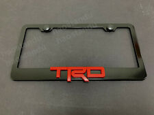 1x redTRD 3D Emblem BLACK Stainless License Plate Frame RUST FREE + ScrewCap RED
