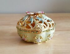 Gold/Blue Hand Made Metal Jewelry Box w/ Sculptured Butterfly Magnetic Closure