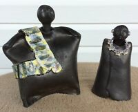 RARE Signed B. W. Hand Thrown Glazed Studio Art Pottery Statues