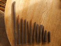Vintage Antique workshop tools Leather ? Stamp Chisel ? Hand Tools Punch 12 pcs
