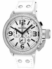 TW Steel Canteen Chronograph Steel White Leather Strap Quartz Unisex Watch TW10