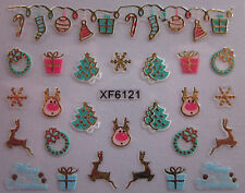 Christmas 3D Nail Art Stickers Decals Gold Snowflakes Stockings Rudolph (XF6121)