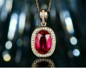 Delicate 3Ct Oval Cut Red Ruby Halo Pendant 14k Rose Gold Finish 18'' Free Chain