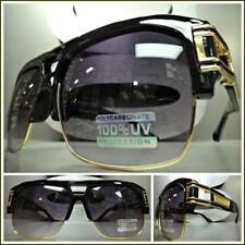OVERSIZED RETRO HIP HOP RAPPER Style SUNGLASSES Black & Gold Frame For Big Heads