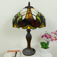 Modern Tiffany Antique style Table/Side Lamp glass shade Bed/Living Room UK Plug