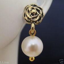 Gold Rose flower Real Freshwater White Round Pearl Earrings Australia Seller 153